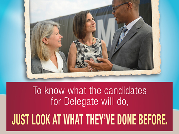Comparative direct mail in Virginia State Delegate race: indesign and photoshop