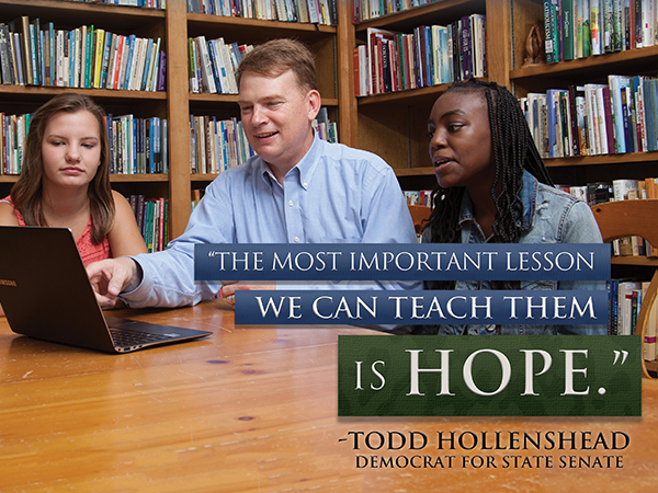 Hope: positive direct mail in Louisiana State Senate race: indesign and photoshop