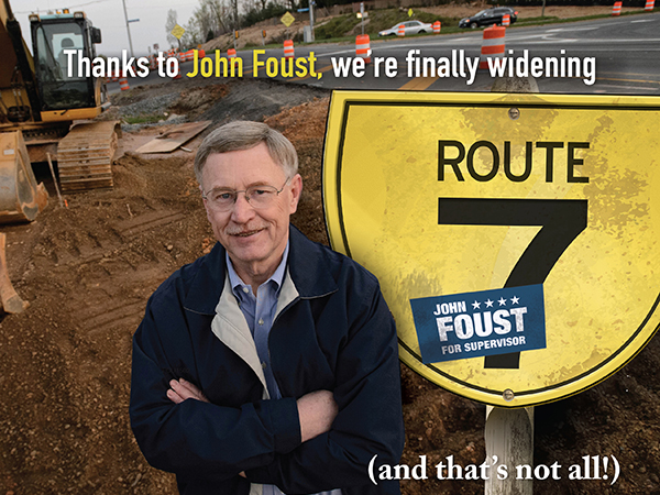 Route 7: positive direct mail in Virginia State Delegate race: indesign and photoshop