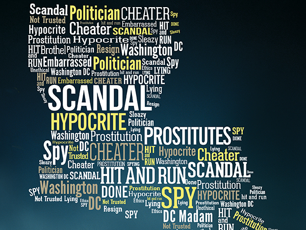 Word Cloud: negative direct mail in Louisiana Governor's race: indesign