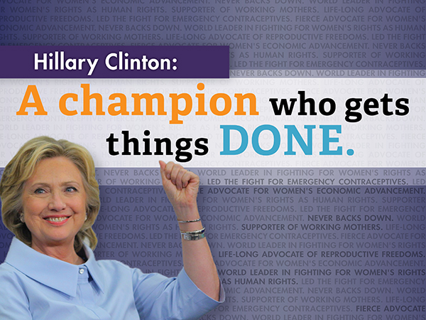 Champion: IE direct mail in support of Hillary Clinton in Iowa: indesign