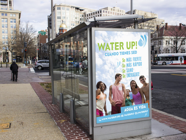 Water Up! Bus Shelter Ad 1: promotional outdoor advertising for child and teen health initiative: photoshop, indesign and illustrator