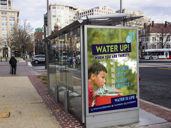 Water Up! Bus Shelter Ad 2: promotional outdoor advertising for child and teen health initiative: photoshop, indesign and illustrator