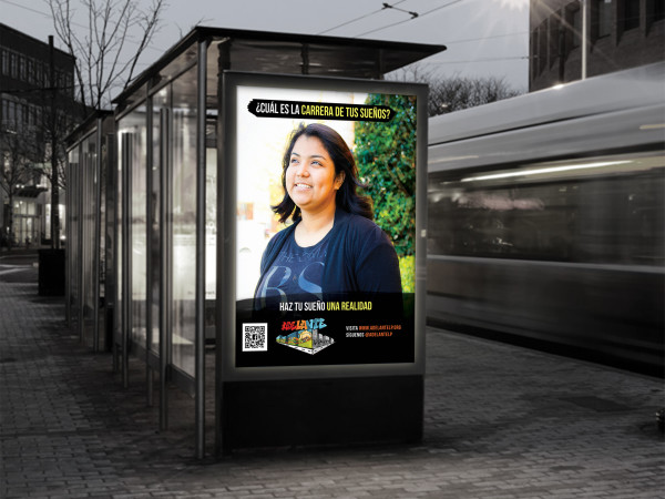 Adelante bus shelter ad 1: outdoor advertising for teen advocacy program: photoshop, indesign and illustrator