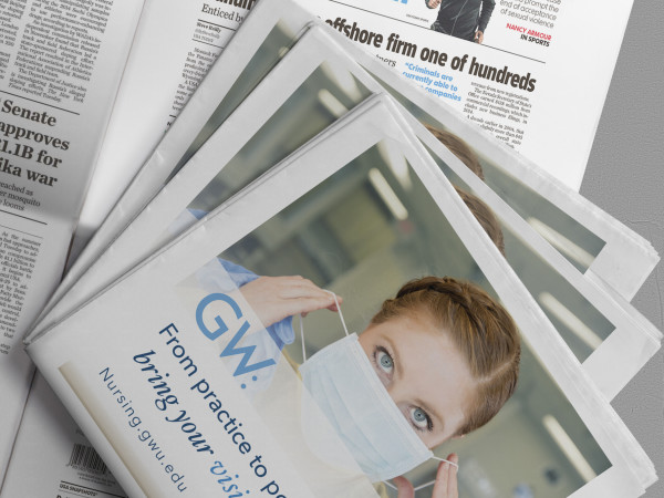 GW Nursing full page ad:  appearing in USA Today: indesign